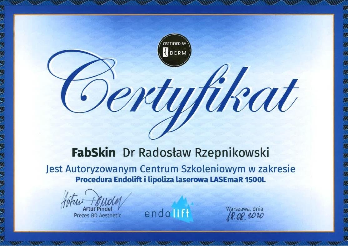 Certyfikat_centrum szkoleniowe Endolift